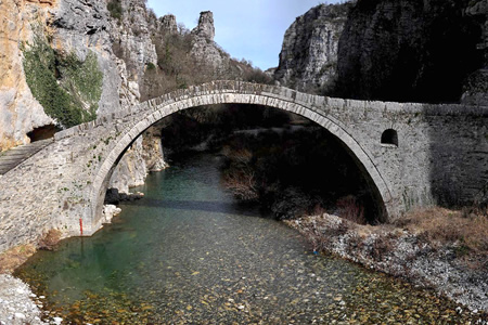 Kokkoros arched stone bridge in the Zagori area close to the villages of Dilofo, Koukouli