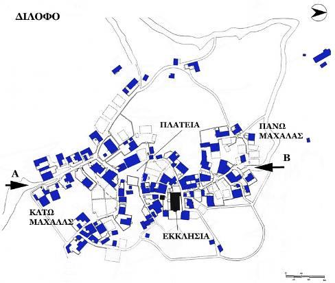 Χάρτης Διλόφου βασισμένος σε αεροφωτογραφία τού 1983