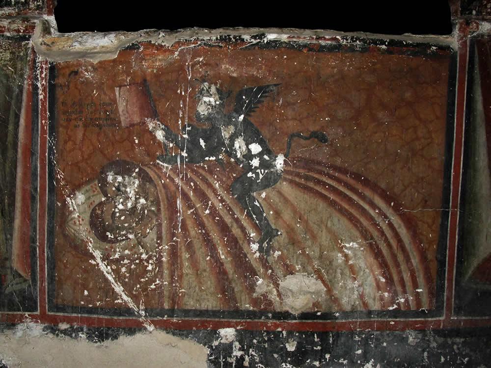 """""""Το Ανδρόγυνο όπου κυμάται την Κυριακήν και δεν πηγαίνει εις την εκκλησίαν"""", τοιχογραφία στο γυναικωνίτη τού Ι.Ν. Αγ. Γεωργίου Νεγάδων στο Ζαγόρι"""