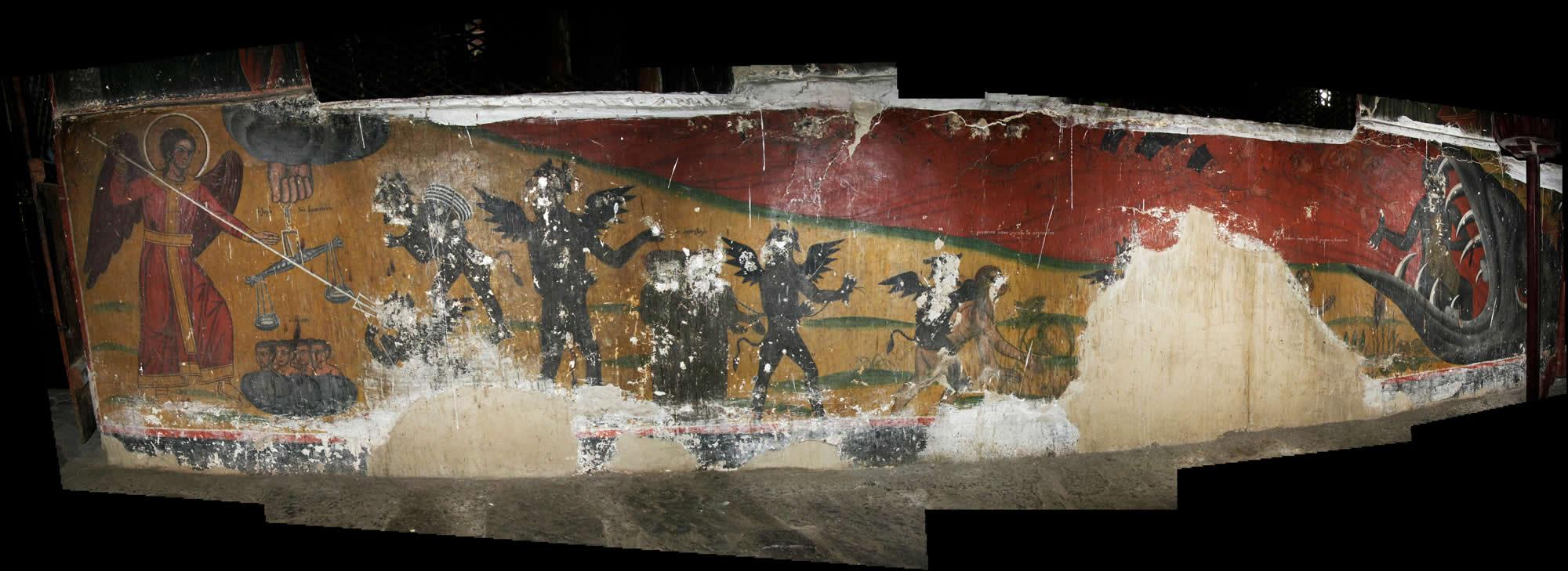 Τοιχογραφία στο γυναικωνίτη τού Ι.Ν. Αγ. Γεωργίου Νεγάδων: ο ζυγός τής δικαιοσύνης ... (οι δίκαιοι εξ αριστερών, οι αμαρτωλοί εκ δεξιών)... η γυναίκα όπου κλέπτει τα κολοκύθια ... η γυναίκα όπου κλέπτει τα λάχανα και τα πράσσα ... ο κλήρος ... και οι Γραμματείς και οι Φαρισαίοι ... όλοι καταλήγουν στο στόμα τού τέρατος τού Άδη!