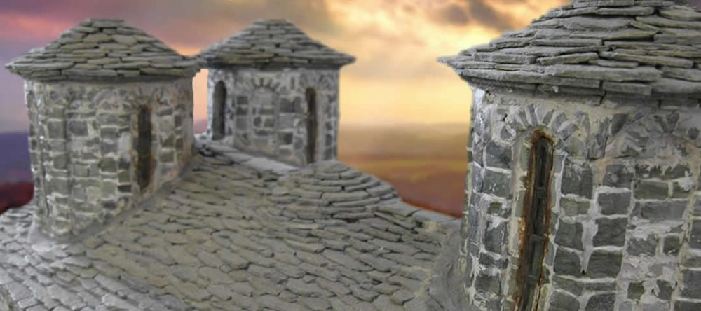 Κατασκευές γεφυριών, εκκλησιών, μοναστηριών, σπιτιών κ.ά. από πέτρα σε μικρογραφία από τον καλλιτέχνη Ανδρέα Τέφο στην Κόνιτσα.